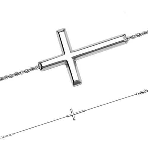 7 1/2in Sterling Silver Sideways Petite Cross Bracelet