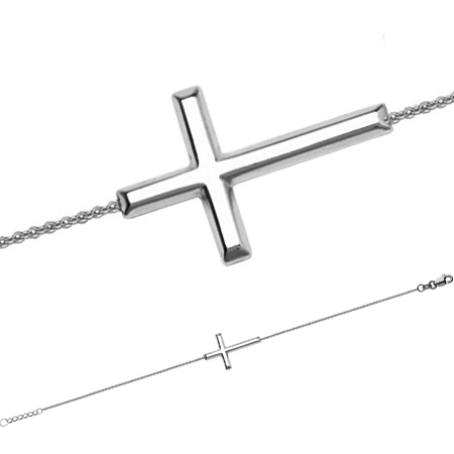 14kt White Gold Sideways Cross Bracelet