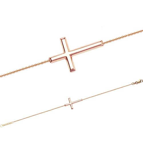 14kt Rose Gold Sideways Cross Bracelet