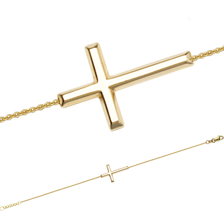 14kt Yellow Gold Sideways Cross Bracelet
