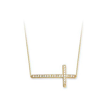 14kt Yellow Gold CZ Sideways Cross with Adjustable Chain