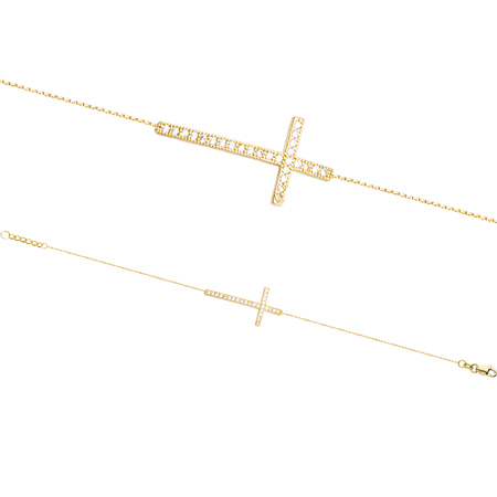 14kt Yellow Gold CZ Sideways Cross Bracelet