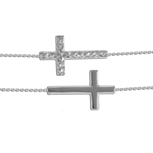 14kt White Gold Reversible Sideways Cross with 18in Chain