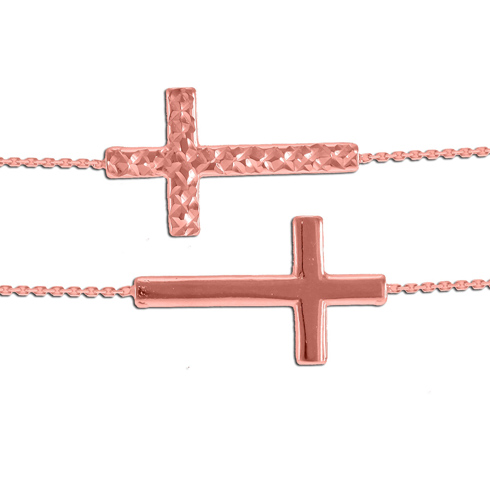 14kt Rose Gold Reversible Sideways Cross with 18in Chain