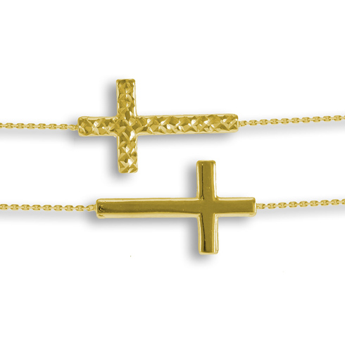14kt Yellow Gold Reversible Sideways Cross with 18in Chain