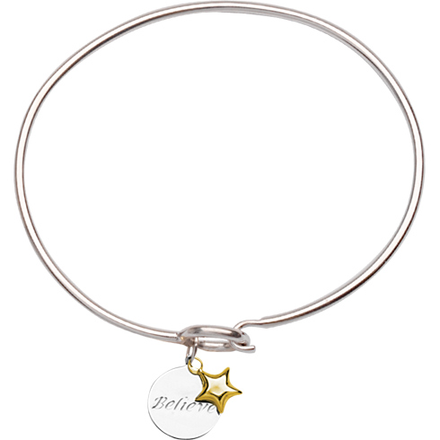 Sterling Silver 14kt Gold Believe Bangle Bracelet