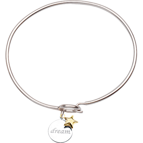 Sterling Silver 14kt Gold Dream Bangle Bracelet