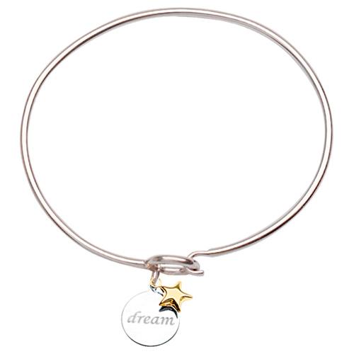 Sterling Silver 14kt Gold Dream Bangle Bracelet