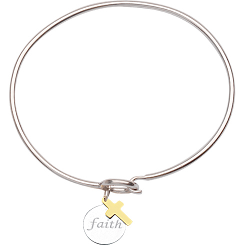 Sterling Silver 14kt Gold Faith Bangle Bracelet