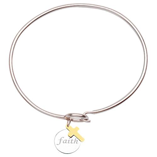 Sterling Silver 14kt Gold Faith Bangle Bracelet