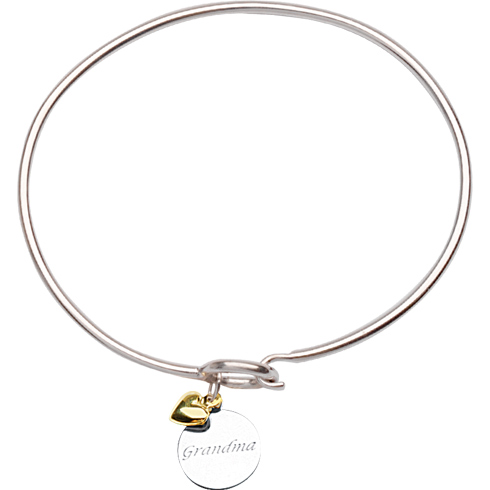 Sterling Silver 14kt Gold Grandma Bangle Bracelet