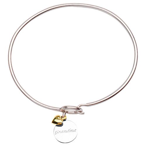 Sterling Silver 14kt Gold Grandma Bangle Bracelet