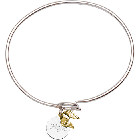 Sterling Silver 14kt Gold Hope Bangle Bracelet