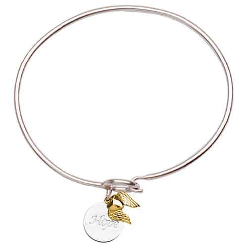 Sterling Silver 14kt Gold Hope Bangle Bracelet