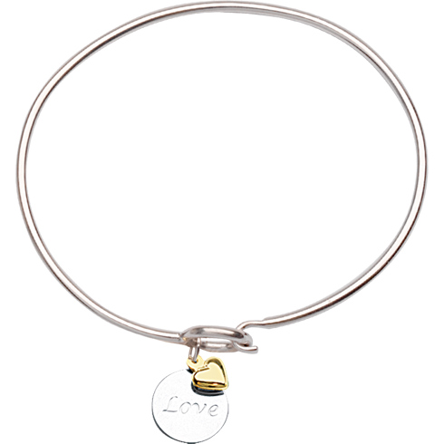 Sterling Silver 14kt Gold Love Bangle Bracelet