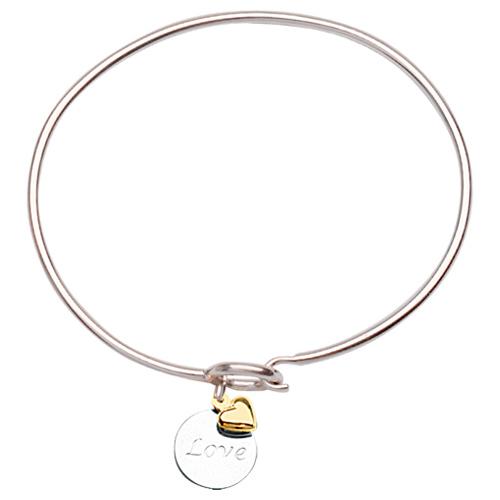 Sterling Silver 14kt Gold Love Bangle Bracelet