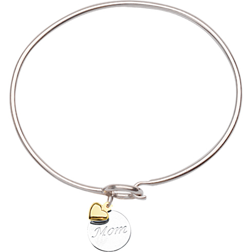 Sterling Silver 14kt Gold Mom Bangle Bracelet