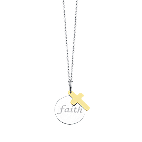 Sterling Silver 14k Yellow Gold Faith Disc and Cross Necklace 18in