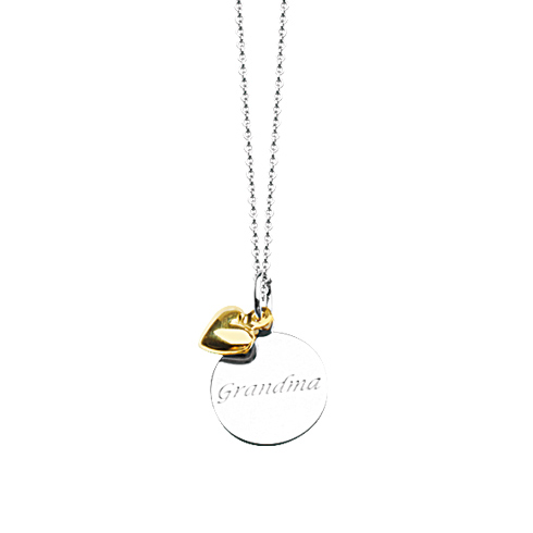 Sterling Silver 14k Gold Grandma Disc Necklace with Star