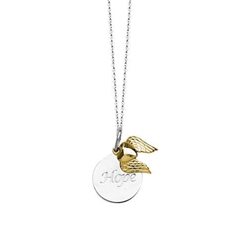 Sterling Silver 14kt Gold 18in Hope Necklace