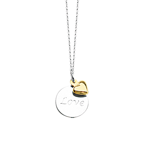 Sterling Silver 14kt Gold 18in Love Necklace