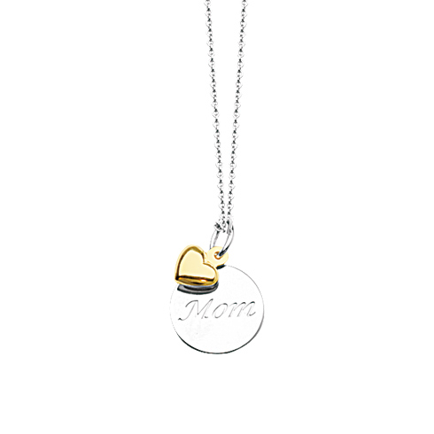 Sterling Silver 14kt Gold 18in Mom Necklace