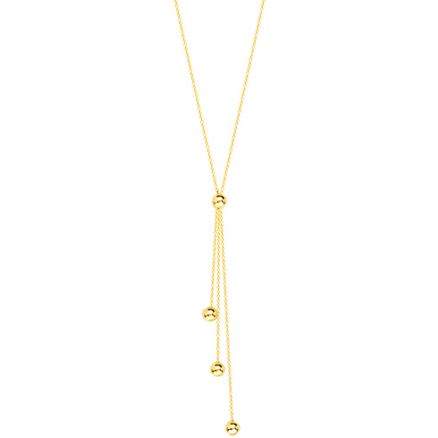 14kt Yellow Gold 3 Strand Beaded Drop Tassel 17in Necklace