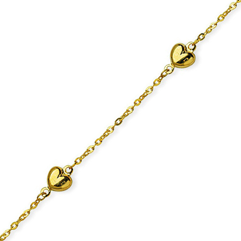 14kt Yellow Gold 9 to 10in Puffed Hearts Anklet