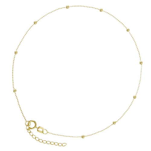 14kt Yellow Gold 9 to 10in Diamond-cut Bead Anklet