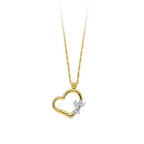 14kt Two-tone Gold Heart and Angel Necklace