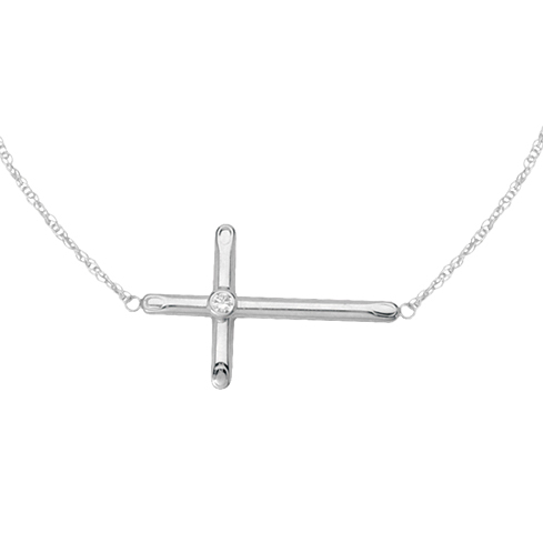 Sterling Silver 1in Sideways Cross Necklace with CZ Accent