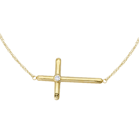 Gold-plated Sterling Silver 1in Sideways Cross Necklace with CZ Accent