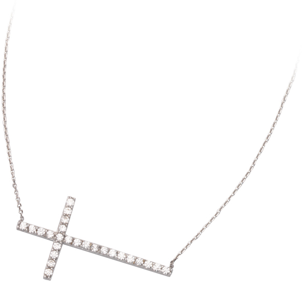 14kt White Gold Cubic Zirconia 1in Sideways Cross Necklace