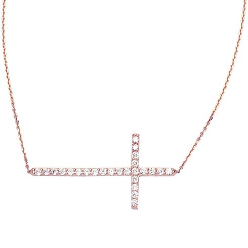 14kt Rose Gold Cubic Zirconia 1in Sideways Cross Necklace