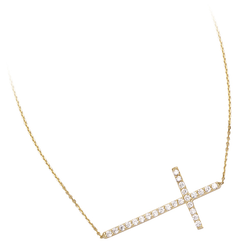 14kt Yellow Gold Cubic Zirconia 1in Sideways Cross Necklace