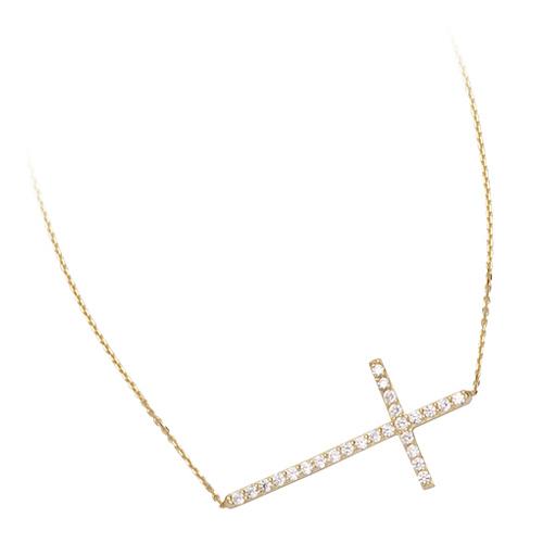 14kt Yellow Gold Cubic Zirconia 1in Sideways Cross Necklace