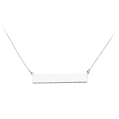 14kt White Gold Bar Nameplate 18in Necklace