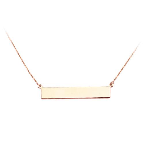 14kt Rose Gold Bar Nameplate 18in Necklace