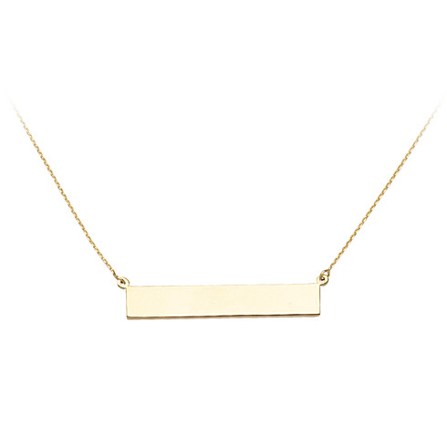 14kt Yellow Gold Bar Nameplate 18in Necklace