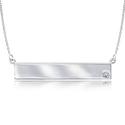 14kt White Gold Diamond Bar Nameplate 18in Necklace