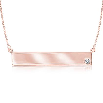 14kt Rose Gold Diamond Bar Nameplate 18in Necklace