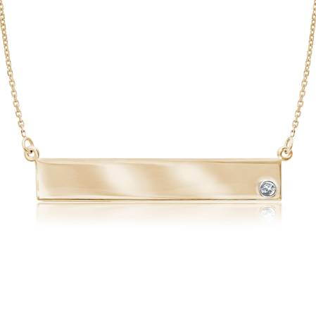 14kt Yellow Gold Diamond Bar Nameplate 18in Necklace