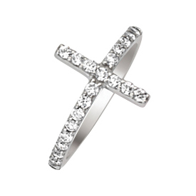 14kt White Gold Cubic Zirconia Sideways Cross Ring