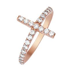 14kt Rose Gold Cubic Zirconia Sideways Cross Ring