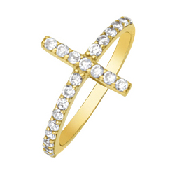 14kt Yellow Gold Cubic Zirconia Sideways Cross Ring