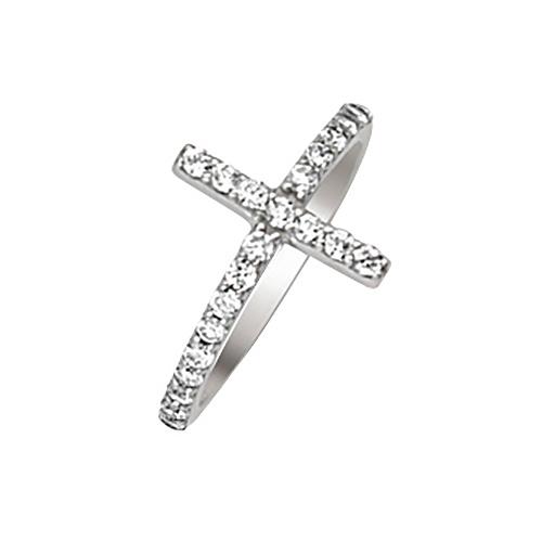 Sterling Silver Cubic Zirconia Sideways Cross Ring