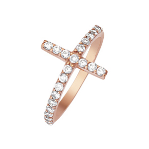 Rose Gold-plated Sterling Silver Cubic Zirconia Sideways Cross Ring