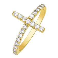 Gold-plated Sterling Silver Cubic Zirconia Sideways Cross Ring