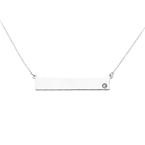 Sterling Silver Cubic Zirconia Nameplate 18in Necklace