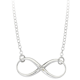 Sterling Silver 5/8in Infinity Necklace with Diamond Accent